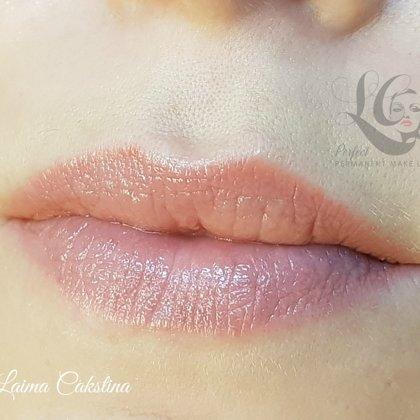 Перманент губ в стиле нюд, после заживления