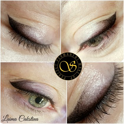 Перманентный макияж глаз , сразу после процедуры