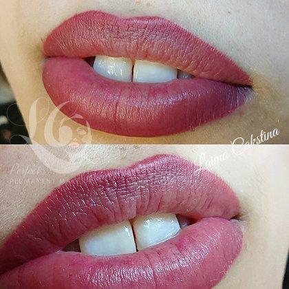 Перманентный макияж губ, сразу после процедуры
