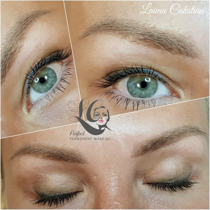 Brows and eyes permanent makeup, healedAiry Powder