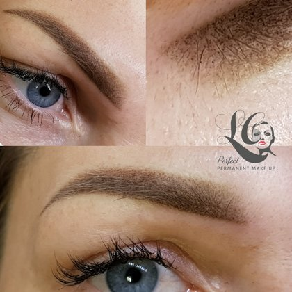 Powder brows ombre. Immediately after